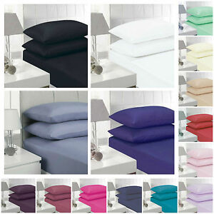 POLY COTTON EGYPTIAN FITTED SHEET SINGLE DOUBLE KING SUP KING SIZE PILLOW CASES