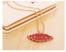 Chunky Gold Chain Lip Necklace Choker Rhinestones Fashion Jewellery