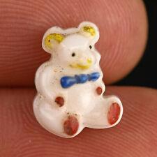 "Vintage White Glass Kiddie Goofie Realistic Sewing Button Teddy Bear 1/2"""