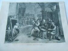 Gravure 1859 - L'Estaminet d'après tableau de David Téniers