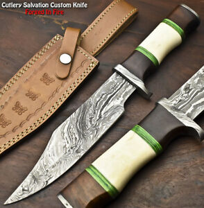 Handmade Damascus Steel Blade Bowie Hunting Knife | Camel Bone