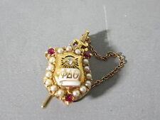 Vintage Phi Delta Theta 14K Fraternity Pin w/ Rubies, Diamond & Seed Pearls