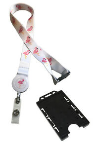 Flamingo Bird Print Safari Badge Reel Lanyard & Double Black Vertical Holder