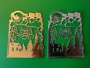 4 Christmas Believe in the Magic Santa Scene Metallic Silver or Gold Die Cut Out