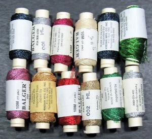 12x Needlepoint/Embroidery THREAD KREINIK 16 Braid metallic-mixed-XW99
