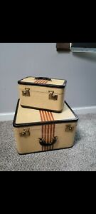 S. Dresner & Sons Chicago RDC 1950-60s yellow tweed striped vintage luggage set.