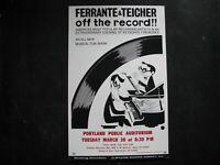 """1965 FERRANTE & TEICHER Concert Poster Window Card 14x22"""" VINTAGE SAM NORKIN"""