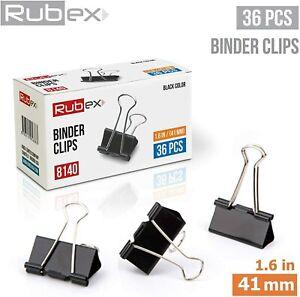 Rubex Binder Clips Black Large Binder Clips Jumbo Binder Clips 1.6 Inch 36 Count