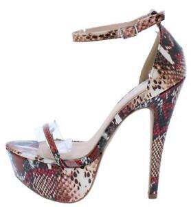 Blush Multi Snake Lucite toe strap Open Toe Platform high Stiletto Heel Size H37