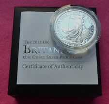 2012  BRITANNIA SILVER  PROOF TWO POUND  COIN  BOX AND COA