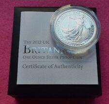2012  BRITANNIA SILVER  PROOF TWO POUND  COIN  BOX AND COA