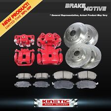 Front+Rear Red Brake Calipers And Rotors + Ceramic Pads 2005 2006 2007 Ford F350