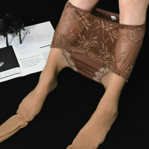 Ladies Plus Size Lace Waist Super Shiny Glossy Pantyhose Sheer Stockings Tights