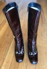 GUCCI Eggplant Patent Leather Mid-Calf HorseBit Equestrian Heel Boots Shoes 6 B