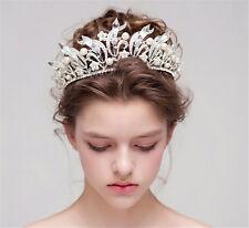 Vintage Crystal Rhinestone Crown Wedding Bridal Headpiece Tiara Pearl Headband I