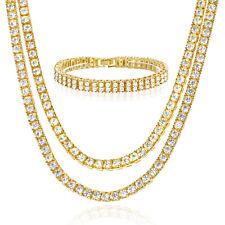 """8"""" 2 Row Bracelet Set Gold Toned G Men's Women's 18"""" / 20"""" Double Tennis Chain"""
