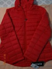 """D.E.T.A.I.L.S  """"NEW"""" Quilted Women Coat/Jacket with Hood  Sz L  Red"""