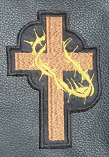Cross and Thorns - Christian Embroidered Biker Patch  (small)