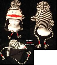 NWT deLux Black & White SOCK MONKEY HAT knit LINED stripe ADULT costume punk emo