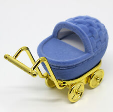 BABY CARRIAGE STROLLER TROLLEY RING NECKLACE GIFT BOX! BABY SHOWER! BABY BOY!