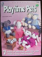House of White  Birches Crochet Playtime Pets Rabbit Bear Elephant Mouse Duck