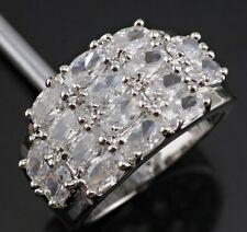 Brand New Size 7 / O Silver Cubic Zirconia Thick Chunky Statement Ring