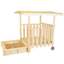 LIFESPAN KIDS OUTDOOR WOODEN SANDPIT TOY DEMO JACK SANDPIT  WITH CANOPY ON WHEEL