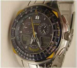 Citizen Blue Angels Skyhawk GN-4-S Eco-Drive Wristwatch Runs Excellent