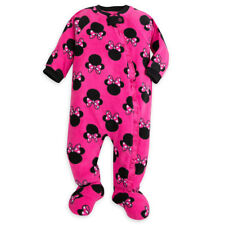 New Disney Girls 1 Piece Cozy Fleece Pajamas PJs 0-3m NWT Minney Mouse Pink