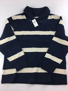 New Boys Gap Kids Navy and White Striped Sweater Long Sleeve Size Medium 8 NWT