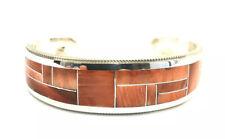 Spiny Oyster Inlay Cuff Bracelet Native American Sterling Silver Zuni Handmade