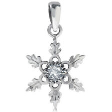 White Topaz Gemstone Snowflake Christmas Sterling Silver Pendant + Chain