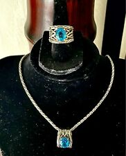 Topaz Necklace Retail $750.00 Effy Sterling Silver Lagoon Blue