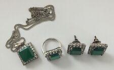 Antiguo Calcedonia Verde Esmeralda Diamante Colgante Plata Anillo Aretes & Pasta