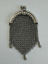 Vintage Antique Solid Silver Mesh Chatelaine Coin Purse