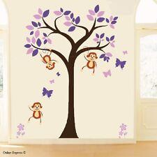 Monkey Tree Nursery Wall Zoo Animal Stickers Decal Boy Baby Purple Kid Bedroom