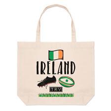 Rugby Ireland Large Beach Tote Bag - Funny League Union Shamrock Flag Shoulder