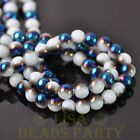 New 100pcs 6mm Round Glass Loose Spacer Beads Porcelain White Half Blue