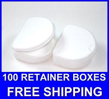 100 White Denture Retainer Box Orthodontic Dental Case Mouth Ortho Brace Teeth.
