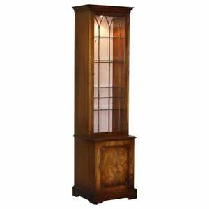 FLAMED MAHOGANY BEVAN FUNNELL GLASS SHELVES WITH LIGHTS LIBRARY BOOCASE CABINET