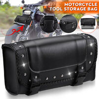 Motorcycle Tool Bag MOTORBIKE Roll Saddlebag Luggage Barrel Pouch PU Leather