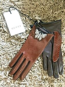 GUCCI Brown Snakeskin Mid Length with Crystal Embellished Butterfly  Size 6,5