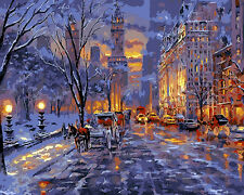 "16X20"" Paint By Number Kit DIY Digital Oil Painting on Canvas Night Street 975"