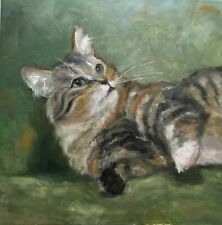 Original oil painting, animal, cat, READY FOR A NAP 12x12