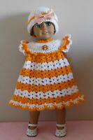 "American Girl Doll Clothes Crochet Orange Dress & Hat Fit American Girl 18"""