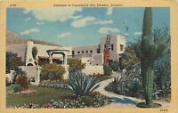 Phoenix Arizona~Entrance to Camelback Inn Winter Resort Oasis~Cactus 1947 Linen