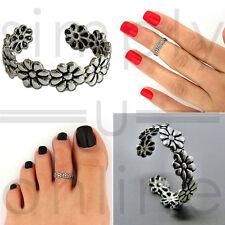 Silver Tone Toe Ring Daisy Chain Flower Adjustable Beach Jewellery
