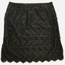 Apt 9 Black Skirt Size 10 Womens Crochet Floral Lace Overlay Scallop Edge Lined