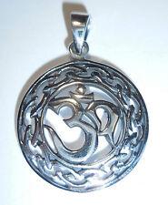 Anhänger Kette OM Symbol ECHT 925 Silber Talisman Amulett AUM Zeichen SS97