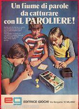 Pubblicità Advertising Werbung 1979 eg EDITRICE GIOCHI Il Paroliere